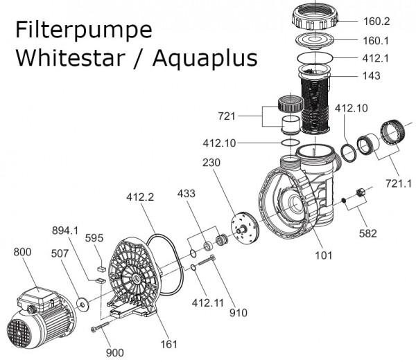 #161 Gehäusedeckel für Pumpe Whitestar / Aquaplus