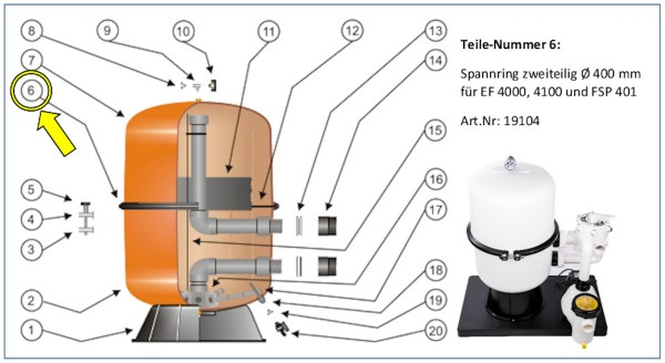 #6 Spannring zweigeteilt für EF 4000 / 4100 / FSP 401